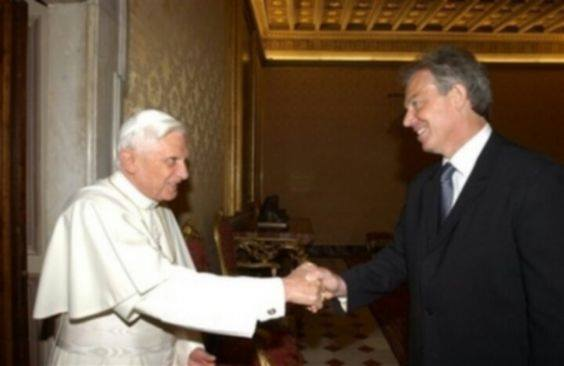 Pope, Blair masonic illuminati handshake