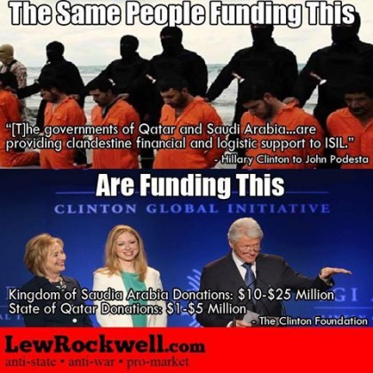 De samme som finansierer ISIS har også finansiert Clinton Kriminelle Kabelen