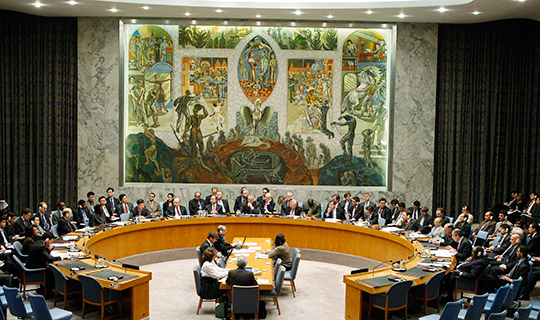 UN Security Chamber. A mural, the painting in the background, a gift from Norway on the incorporation of the UN, by the artist Per Krogh, the Phoenix, a bird able to be reborn every 1400 years