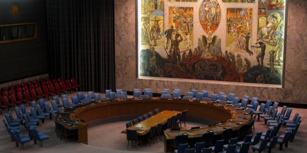 Norways gift to UN, hangs in the Security Chamber. In the middle the luciferian Bird Phoenix rises from the ashes they create.