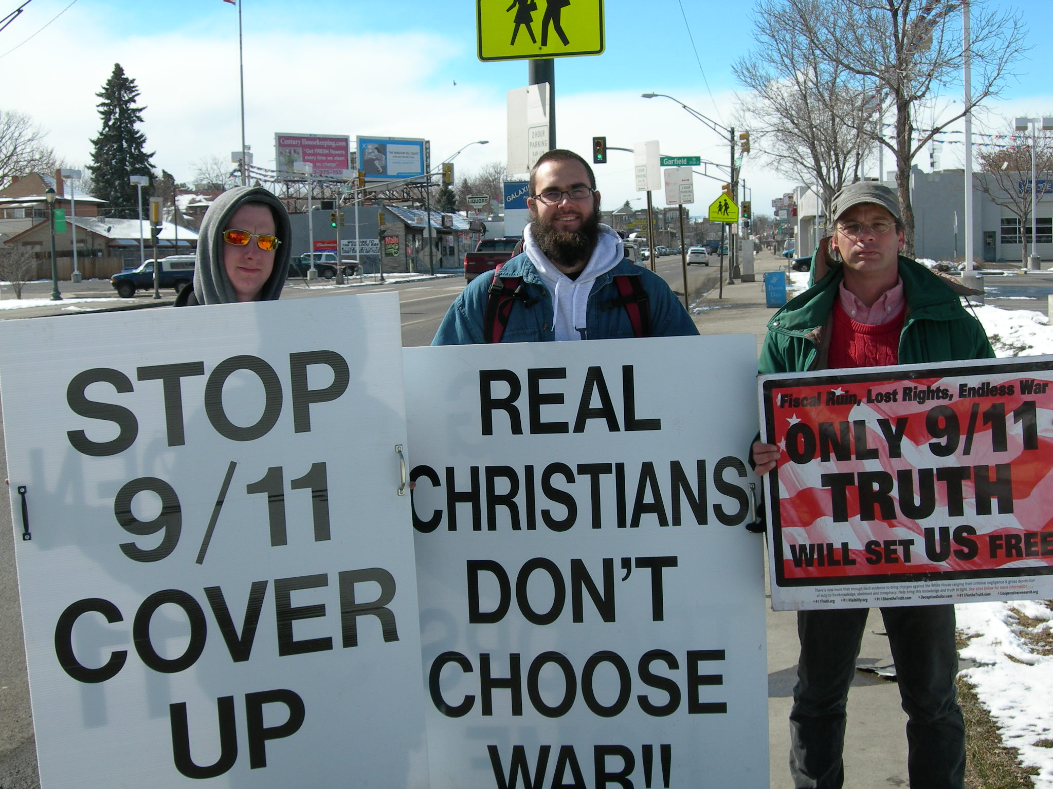 Activists Protest Christian Support of the Wars and the September 11th Cover-Up
