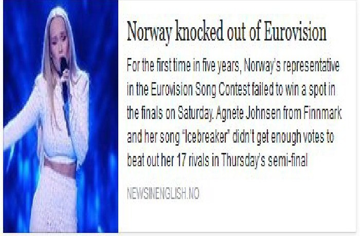 Eurovision; Norwegians herded into the Globalist 'family'