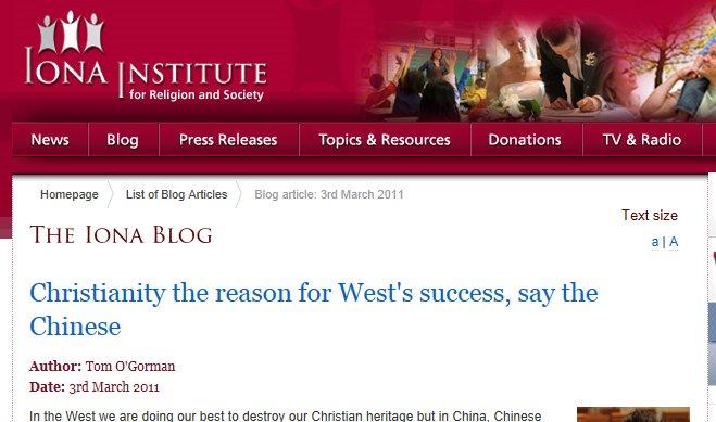 Kristendommen årsaken til Vestens suksess, sier kineserne