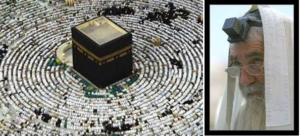 The Cube. To the left the Muslims holy Kaba. To the right a Jewish Rabbi