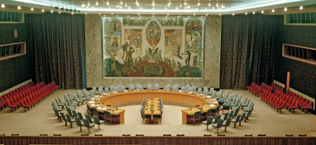 The colourful mural by Norwegian artist Per Krogh features prominently in the UN Security Council chamber. It depicts a phoenix rising from its ashes, ...