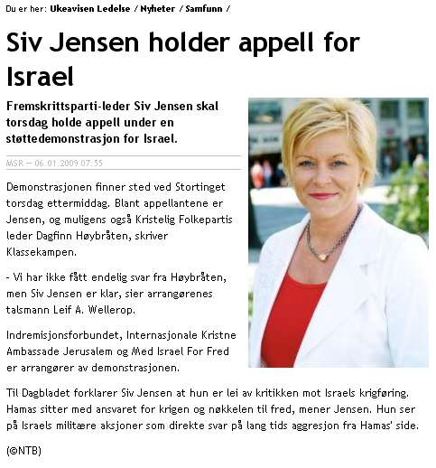 Siv Jensen hallelujah Israel