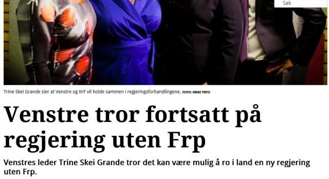 Multikulturelle Venstre vil holde FrP utenfor Regjering (faksimile av Adressavisa)