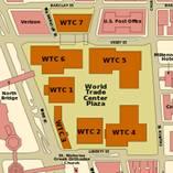 Kartet for de syv bygningene som utgjør  WTC